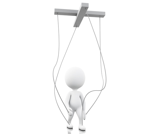 3d white person manipulated by strings Premium Photo