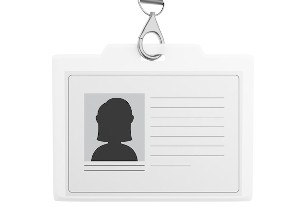 3d white plastic id badge with lanyard Premium Photo