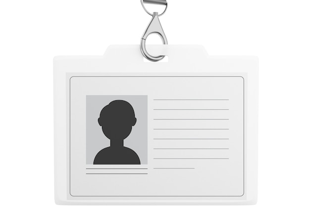 3d white plastic id badge with lanyard Premium Photo