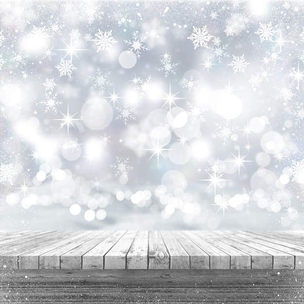 3d white wooden table looking out to a christmas background Free Photo