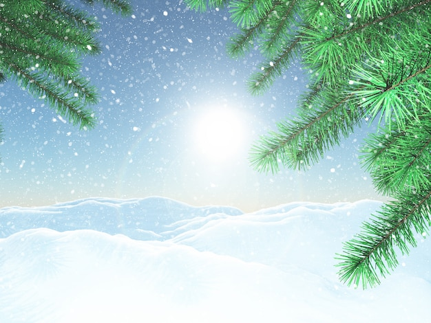 3d winter landscape with christmas tree branches Free Photo