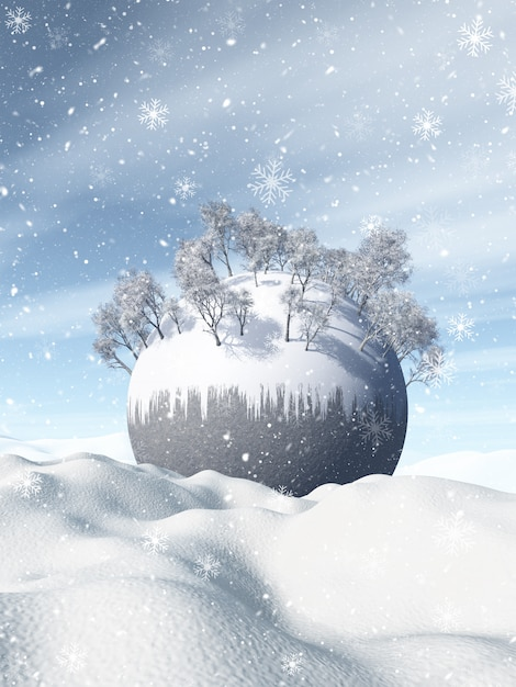 3d winter landscape with snowy globe nestled in snow Free Photo