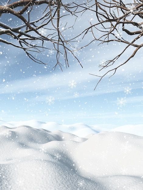 3d winter landscape with snowy trees Free Photo