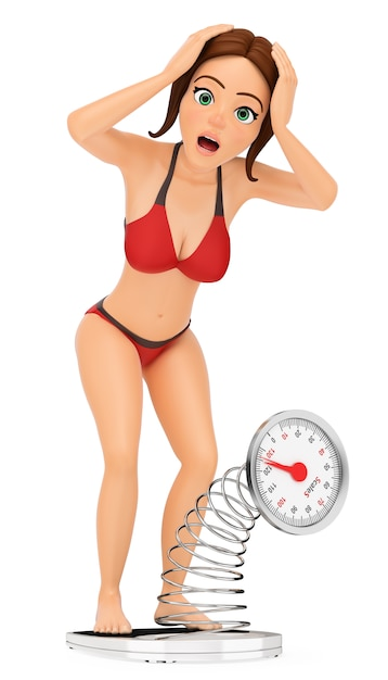 3d woman in bikini weighing herself on a scale. overweight Premium Photo