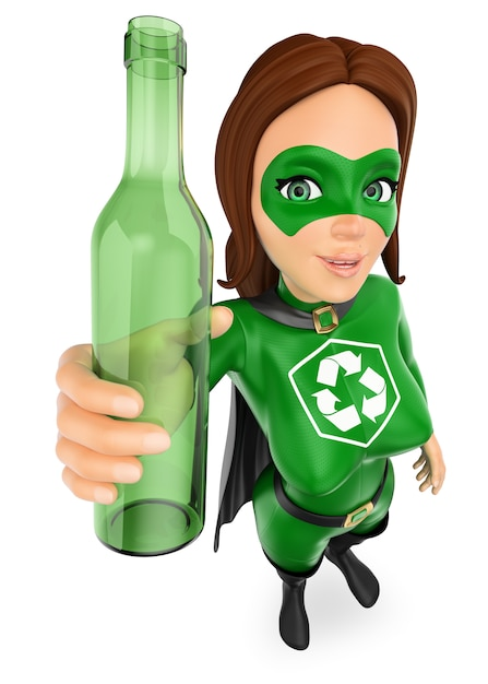 3d woman superhero of recycling with a glass bottle Premium Photo