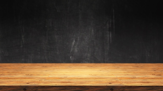 デフォーカスグランジ背景に対して3 dの木製テーブル 無料写真