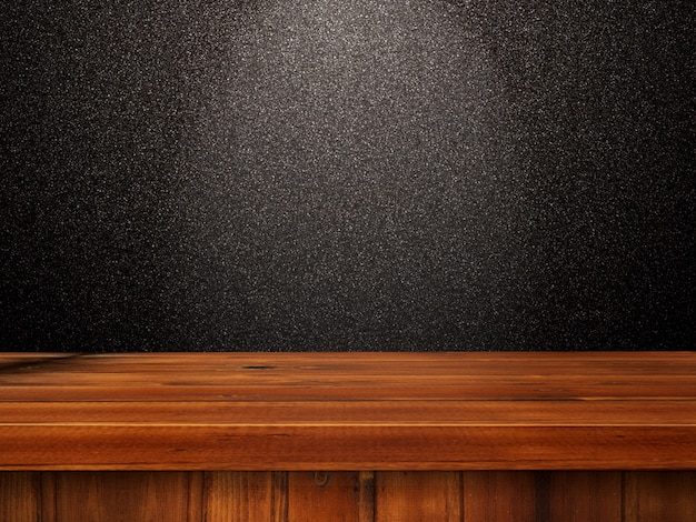 3d wooden table against a black glittery wall Free Photo