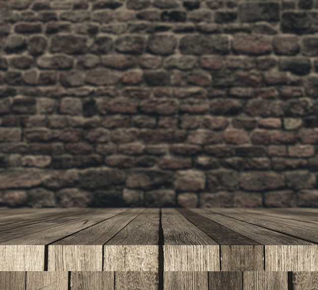3d wooden table against defocussed brick wall Free Photo