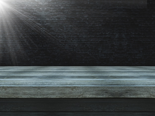 3d wooden table against an old grunge brick wall with spotlight shining Free Photo