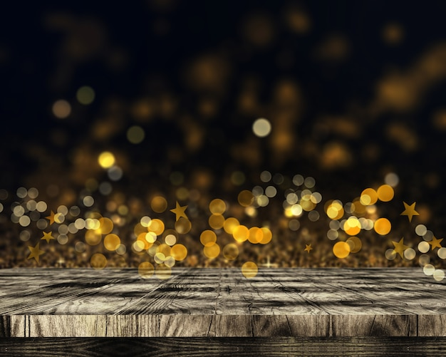 3d wooden table on bokeh lights and stars background Free Photo