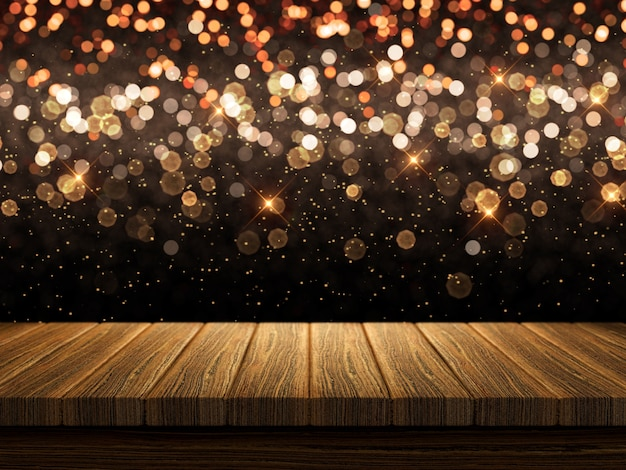 3d wooden table on christmas bokeh lights background photo