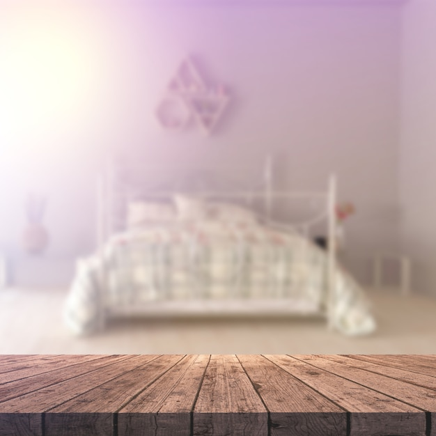 3d wooden table looking out to a defocussed bedroom interior Free Photo