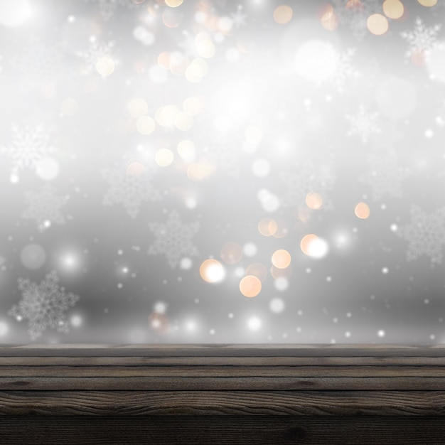 3d wooden table looking out to a defocussed christmas background Free Photo