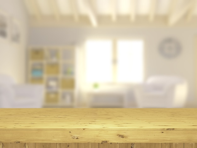 3d wooden table looking out to a defocussed lounge interior Free Photo