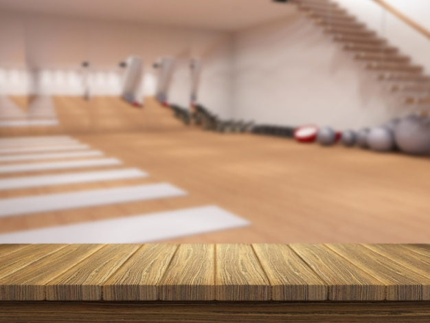 3d wooden table looking out to a modern gym interior Photo   Free
