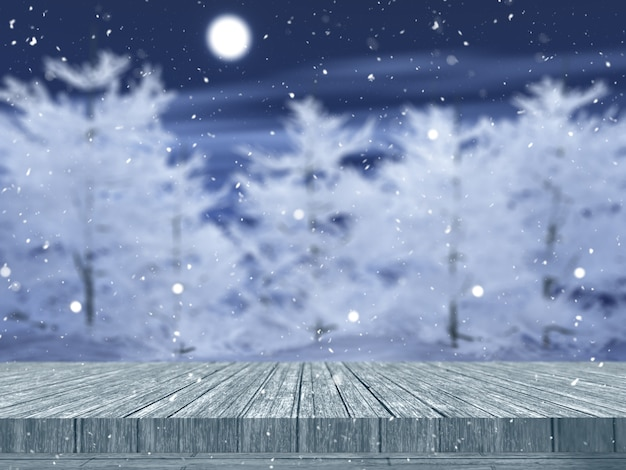 3d wooden table looking out to a snowy tree landscape Free Photo