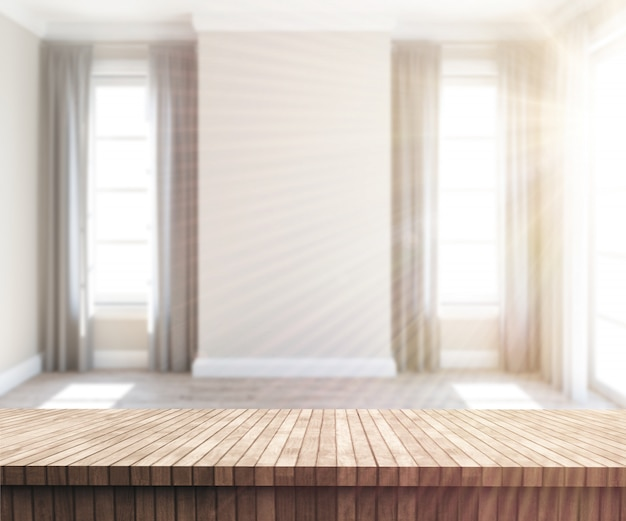 3d wooden table looking out to a sunny empty room 1048 7956