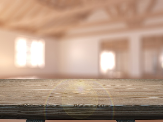 3d деревянный стол с видом на пустую комнату Бесплатные Фотографии