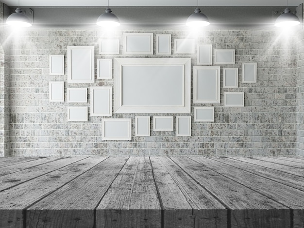 3d wooden table looking out to a wall of blank picture frames Free Photo