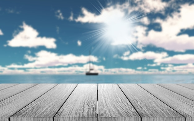 3d wooden table looking out to a yacht on the ocean Free Photo