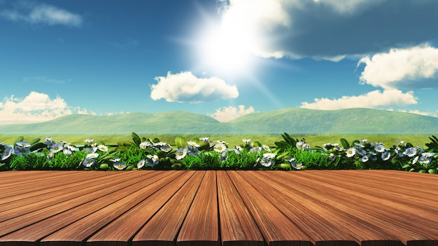 3d wooden table with daisies, grass and hills Free Photo