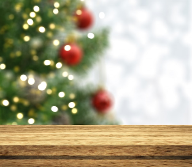 3d wooden tale looking out to a defocussed christmas tree Free Photo