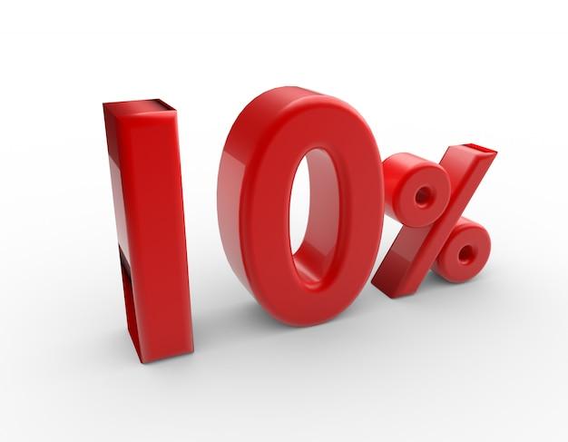 3d слово 10 процентов, изолированные на белом Premium Фотографии