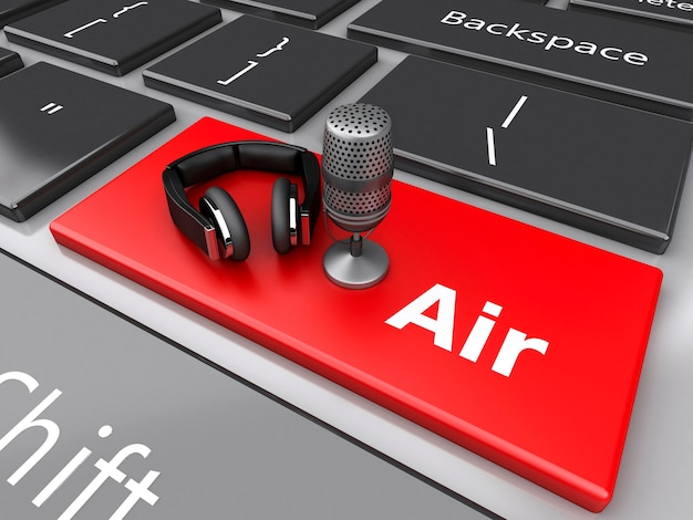 3d word air with a mic and headphones on computer keyboard. Premium Photo