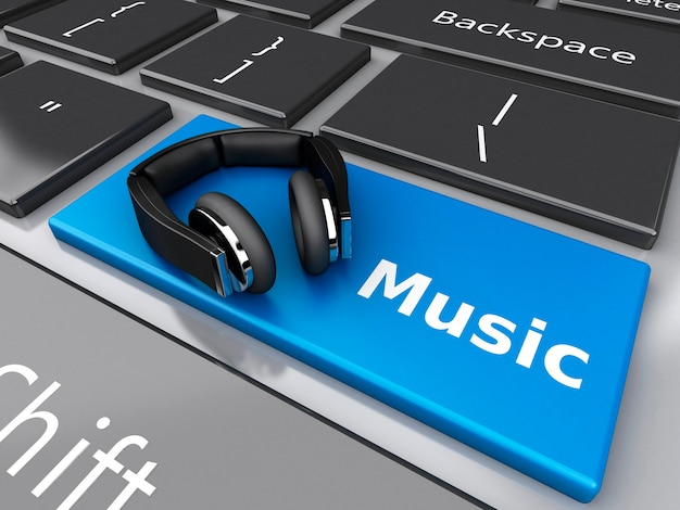 3d word music with headphones on computer keyboard. Premium Photo