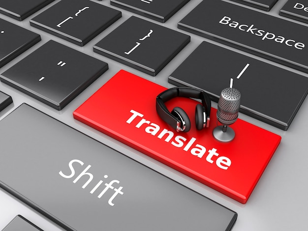 3d word translate with mic and headphones on computer keyboard. Premium Photo