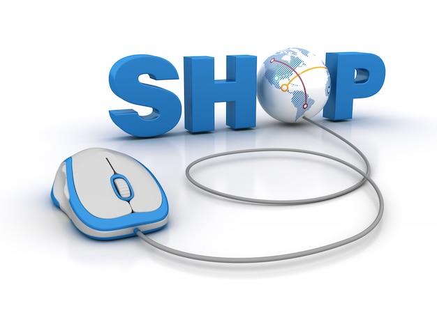 Магазин 3d word с глобусом и компьютерной мышью Premium Фотографии