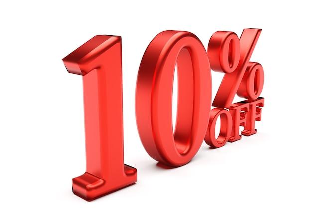 3d слова 10 процентов, изолированные на белом фоне Premium Фотографии