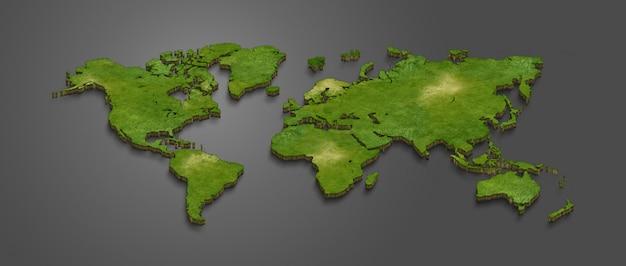 3d World Map Premium Photo