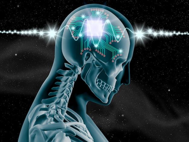 コンピュータチップと回路を用いた人間の脳の3d x線 Premium写真