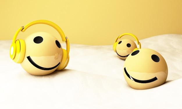 ヘッドフォン付きの3d黄色の絵文字 Premium写真
