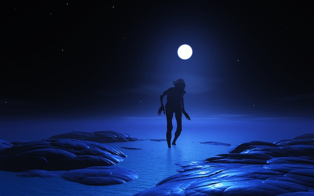3d zombie creature at moonlight Free Photo