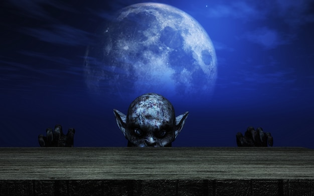 3d zombie looking over a wooden table against a moonlit sky Premium Photo