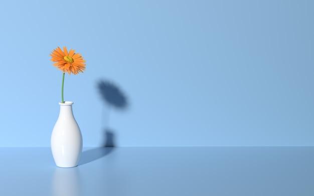 3d визуализация ромашка на синем фоне Premium Фотографии