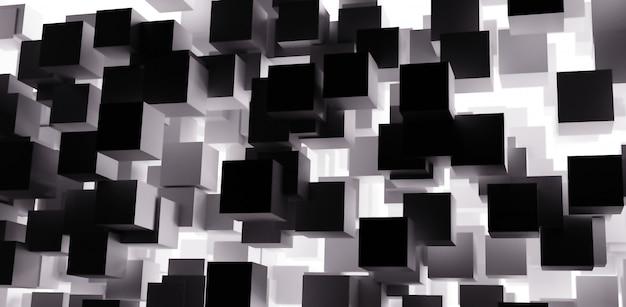 3d визуализация абстрактный кубики фон с черно-белым цветом Premium Фотографии