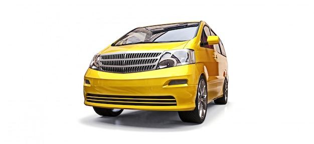 Желтый маленький минивэн для перевозки людей. трехмерная иллюстрация на белой предпосылке. 3d-рендеринг. Premium Фотографии