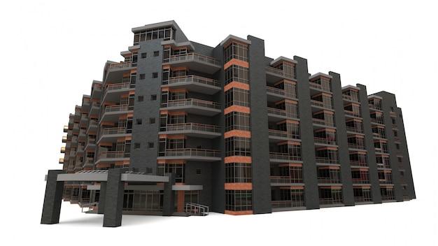 マンションの3dモデル。中庭のある集合住宅 Premium写真