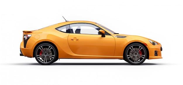 黄色の小さなスポーツカークーペ。 3dレンダリング Premium写真