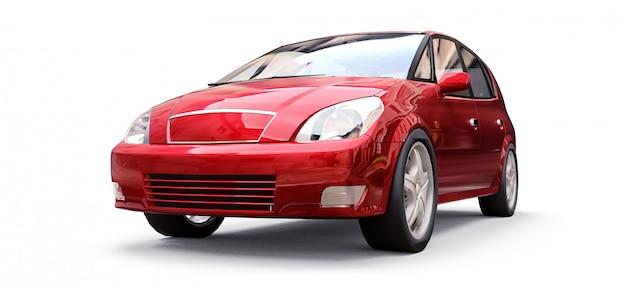 あなたの創造的なデザインのための空白の面を持つ赤い都市車。 3dレンダリング Premium写真