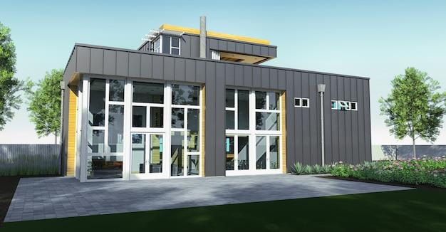 庭園とガレージ付きのモダンな家。 3dレンダリング Premium写真