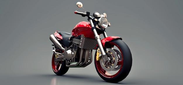 Красный городской спортивный двухместный мотоцикл на серый. 3d иллюстрации Premium Фотографии