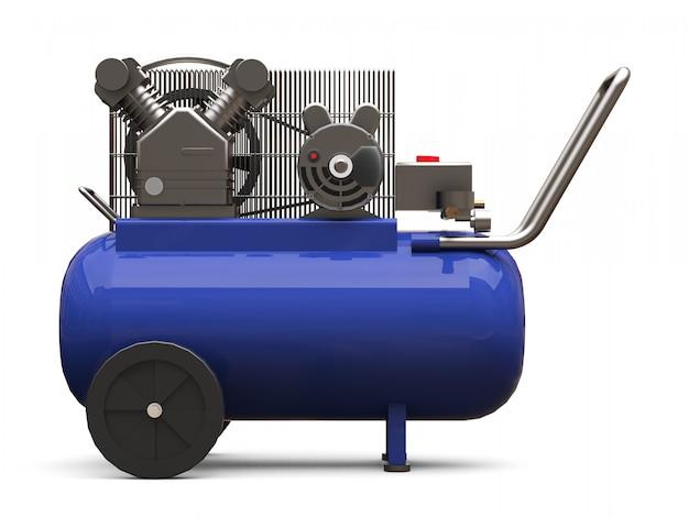 分離された青い水平空気圧縮機。 3dレンダリング。 Premium写真