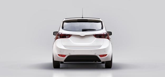 あなたの創造的なデザインのための空白の表面を持つ白い都市車。 3dレンダリング。 Premium写真