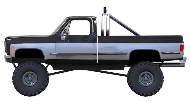 オフロードの大型ピックアップトラック。フル-トレーニング。高く上げられたサスペンション。岩や泥のためのスパイク付きの巨大なホイール。 3dレンダリング。 Premium写真