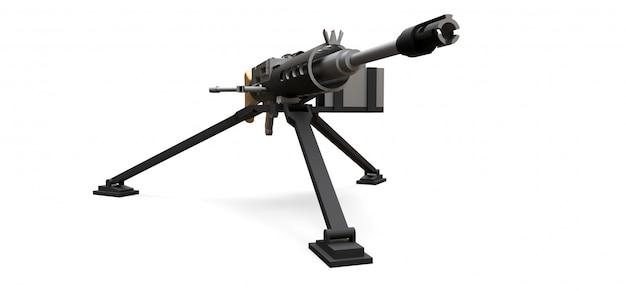 Большой пулемет на треноге с полными кассетными боеприпасами на белом фоне. 3d иллюстрации. Premium Фотографии