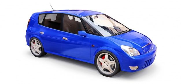 あなたの創造的なデザインのための空白の表面を持つ青い都市車。 3dイラストレーション。 Premium写真